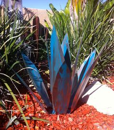Blue Tequila Agave Metal Yard Art by TopangaPatina on Etsy