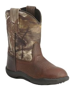Old West Infant Boys' Realtree AP Camo Boots. Made w/ Genuine leather upper, pink canvas shaft features Realtree camo design and non-slip rubber sole.