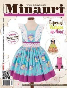Revista Minauri N°17  Vestidos de Niña con patrones a tamaño real - Girl Dress Sewing Magazine with full size pattern