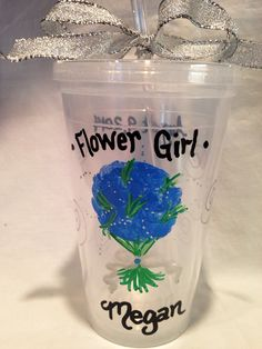 Flower Girl Tumbler, Hand Painted Wedding Party Tumbler, Bridesmaid Tumbler, Bridal Party Tumblers on Etsy, $12.00