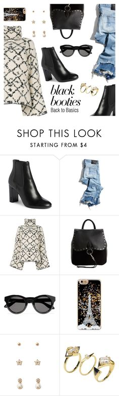 """""""Back to Basics: Black Booties"""" by dressedbyrose ❤ liked on Polyvore featuring Yves Saint Laurent, R13, Ports 1961, Rebecca Minkoff, Givenchy, Forever 21, Noir Jewelry, ootd, blackbooties and polyvoreeditorial"""
