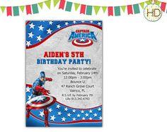 Captain America Invitation Avengers Superhero by HDInvitations Tutu Invitations, Superhero Invitations, Kids Birthday Party Invitations, Captain America 1, Avengers Superheroes, Chalkboard Invitation, Avengers Birthday, Superhero Party, Youre Invited
