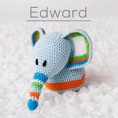 Edward crochet elefant from Freshka Design by Freshkashop on Etsy, Crochet Animals, Crochet Toys, Dinosaur Stuffed Animal, Elephant, Hats, Design, Figurine, Crocheted Toys, Hat