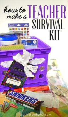 I'm usually a nice teacher, but when I'm hungry I'm . I eat a SNICKERS® to combat hunger, which inspired this Teacher Survival Kit tutorial! Survival Kit For Teachers, Teacher Survival, Survival Kits, Presents For Teachers, Gifts For Kids, Teacher Appreciation Gifts, Teacher Gifts, Teacher Treats, Teacher Stuff