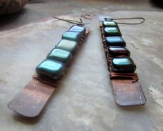 Extra Long Form-Folded Copper Bohemian Earrings Wrapped with Teal Mystic Glass Square Beads by Chilirose on Etsy