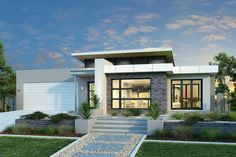 Explore the amazing features of this three bedroom modern house design with sq. It showcases a blend of friendly living spaces and private night zone. Bungalow Haus Design, Modern Bungalow House, Modern House Facades, Facade Design, Exterior Design, Architecture Design, Contemporary House Plans, Modern House Plans, House Front Design