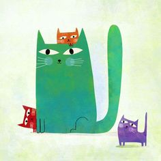 Poster, The four cats - Nicolas Gouny Crazy Cat Lady, Crazy Cats, Cute Kittens, Cats And Kittens, Siamese Cats, Cool Cats, I Love Cats, Art Carte, Whatsapp Wallpaper