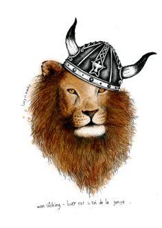 #illustration #sketch #draw #handdraw #encre #dessin #lion #vicking  #lucy #inzesky