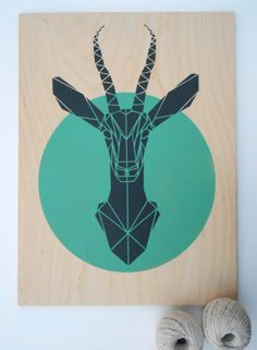 Large Gazelle on Plywood. Handmade. Stencil Art. Faux Taxidermy. Geometric. Origami Deer. Original Art on Etsy, $85.02 CAD