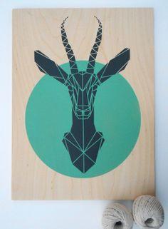 Large Gazelle on Plywood. Handmade. Stencil Art. Faux Taxidermy. Geometric. Origami Deer. Original Art on Etsy, $85.02 CAD