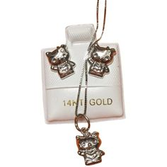 Pre-owned Hello Kitty Jewelry ($322) ❤ liked on Polyvore featuring jewelry, accessories, 14 karat gold pendants, cat pendant jewelry, hello kitty necklace set, 14k white gold pendant and white gold pendant