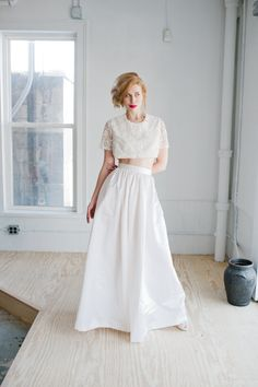 This lacy crop and high-waisted skirt from Made by Anatomy. | 21 Completely Stunning Crop Top Wedding Gowns