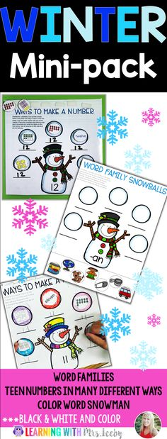 Word families, teen numbers in many different ways, and a color word snowman. Black & White and Color included. Great for centers in K-1st grade, whole group work, and morning work. Looks great hung up!