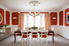Grasscloth, Orange velvet Oly chairs, China Seas fabric, Plantation mirror, Christy Allen Design.