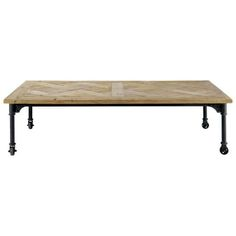 coffee table with wheels in wood and metal L 160 cm