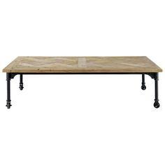 Table basse à roulettes en bois et métal L 160 cm
