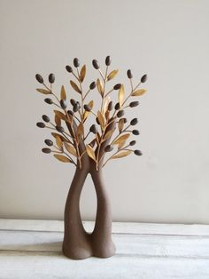 Modern olive tree sculpture, ceramic olive tree with brass olive branches, brown olive tree with split trunk and brown ceramic olives Diy Crystal Crafts, Diy And Crafts, Clay Wall Art, Clay Art, Tree Sculpture, Sculptures, Photos Of Lord Shiva, Diy Crystals, Ceramic Birds