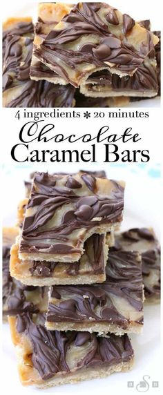 Chocolate Caramel Bars made with just 4 simple ingredients! Easy buttery crust t., Desserts, Chocolate Caramel Bars made with just 4 simple ingredients! Easy buttery crust topped with a quick caramel then swirled with melted chocolate. 13 Desserts, Brownie Desserts, Delicious Desserts, Yummy Food, Desserts Caramel, Caramel Treats, Spanish Desserts, Gourmet Desserts, Party Desserts