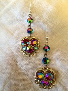 """Silver and Purple Aurora Borealis Heart Earrings Upcycled Vintage Jewelry  Go """"Like"""" my facebook page to get all my new designs on your newsfeed at   www.facebook.com/upcycledvintagejewelry"""