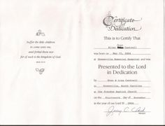 Baby Dedication Certificate Free