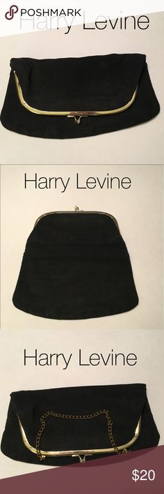 Harry Levine 1950s Vint Foldover Clutch evng bag Harry Levine 1950s Vintage Foldover Clutch evening bag - you can use with or without chain strap - Black Satin crepe material - in amazing condition - soft pink/coral color inside - excellent condition - fast shipping Harry Levine  Bags Clutches & Wristlets