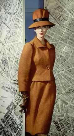 Wilhelmina Cooper wearing Pierre Balmain; photographed by Philippe Pottier, Fall 1962 for L'Officiel