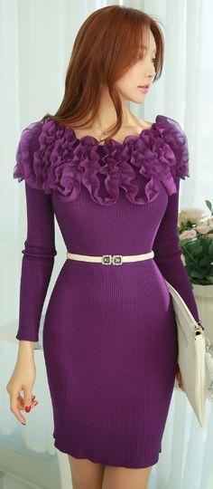 StyleOnme_Chiffon Frill Detail Boat Neck Knit Dress #purple #feminine #dress #elegant #koreanfashion #kstyle #frill #ruffle #chic #seoul #kfashion