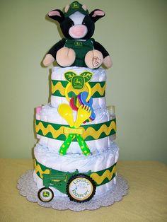 3-tier John Deere Diaper Cake