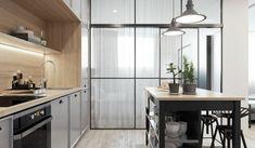 Cucina angolare di colore bianco e di design, illuminazione con ...