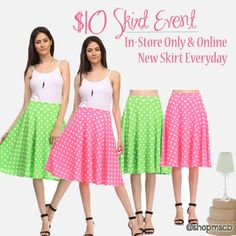 This week April 6-11 see a new $10 skirt everyday! Free gift with purchase during April 6-11 also. #springbreak #midiskirt  Super cute midi skirts only $10!! Use code: Spring Fling at checkout for discount. You will also get a free gift with any purchase.  www.mysisterscloset-boutique.com/item-of-the-week.