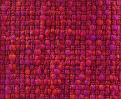 MATADOR WOOL TWEED SAMPLE, 1964. Double cloth hopsack fabric, woven in multiply wool slub yarns, and wool and polyester yarns, in pink, purple, orange and red.