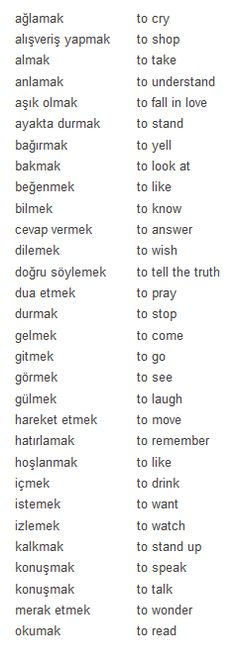 Turkish most used verbs 1