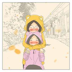 No photo description available. Hijab Drawing, Best Friends Sister, Anime Muslim, Hijab Cartoon, Islamic Girl, Wallpaper Iphone Cute, Drawing Techniques, Cute Illustration, Cute Drawings