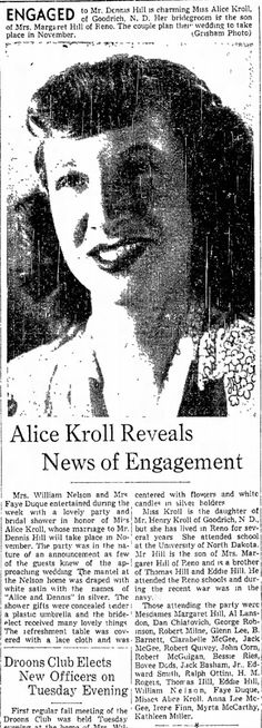 Nevada State Journal, 5 Oct 1947, Sun, Page 7  1947 Oct 5 Clara Belle & Barney Barnett attend Kroll Engagement Party with Jack & Anna Lee McGee, Clara Belle Henley McGee