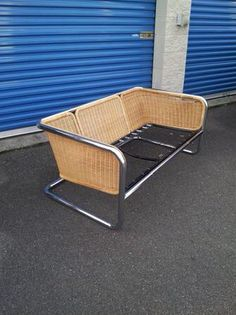 MCM chrome and wicker couch. Mcm Furniture, Outdoor Furniture, Wicker Couch, Outdoor Chairs, Outdoor Decor, Chrome, Antiques, Modern, Plants