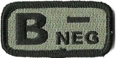 "Tactical Blood Type Patches - ""Type B Negative"" - 2""x1"" (ACU/Foliage) Gadsden and Culpeper, http://www.amazon.com/dp/B0081BD9J4/ref=cm_sw_r_pi_dp_6zmdrb02XJ7NK"