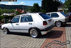 White VW Golf Mk2 and Mk1