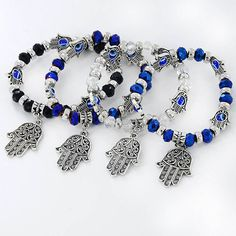 >> Click to Buy << European And American Fashion Black White Blue Green Elastic Rope Chain Fatima Hands Eye Of Devil Bead Pendant Bracelets 1 pcs #Affiliate