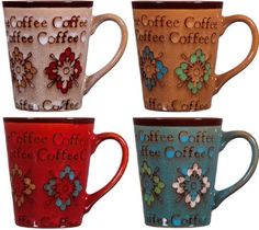 Home Essentials Assorted Colors 13 Oz Embossed COFFEE Flower Mugs Cups -- To view further for this item, visit the image link.  This link participates in Amazon Service LLC Associates Program, a program designed to let participant earn advertising fees by advertising and linking to Amazon.com.