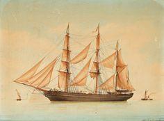 """""""Trois mâts barque du commerce par temps calme"""", by Antoine Roux (1799-1872, ) aquarelle, gouache et traits de plume - Artprecium"""