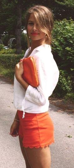 summer outfits womens fashion clothes style apparel clothing closet ideas. White + Orange shorts purse