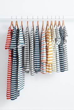 How many stripes do you have in your wardrobe? Our favourite Seasalt Breton Striped shirts all in a row.