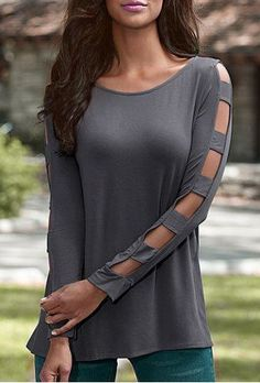 Elegant Scoop Neck Solid Color Cut Out T-Shirt For Women