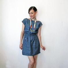 Milan Eco Denim dress  Blue or grey Hemp & by SimonesRoseBoutique