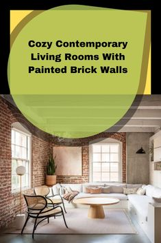 Cozy Contemporary Living Rooms With Painted Brick Walls Brick fireplace usually comes for a traditional or farmhouse style. Painted Brick Walls, Living Room Cabinets, Beautiful Living Rooms, Brick Fireplace, Types Of Houses, Contemporary, Modern, Farmhouse Style, Decor Ideas