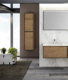 We love this Italian-crafted floating vanity unit with metal trim detail and wood finish, together with the streamlined wash basin. Could you imagine this in your bathroom?!  Now 29% OFF in our June SALE for unbeatable value at €995.  Shop the SALE now in-store or online!  #bathroomfurniture #vanity #floatingvanity #italiandesign #designerbathroom #SALE #junesale Bathroom Vanity Units, Bathroom Furniture, Floating Vanity, Metal Trim, Basin, June, The Unit, Autumn, Mirror