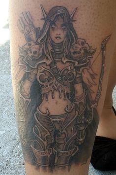 world of warcraft Lady Sylvanas tattoo. #worldofwarcraft  #worldofwarcrafttattoo #ladysylvanas #tattoo #tattooart #blackandgreytattoo #silverbackink #elf #archer #videogame #videogametattoo www.kreepykentucky.com  www.modernagetattoo.com