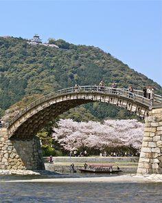 Wooden arches - Kintai Bridge and Iwakuni Castle in Iwakuni, Yamaguchi, Japan