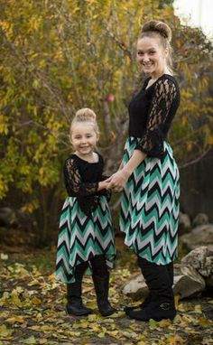 Everly,Love,Just,like,Mommy,Dress,mommy and me, just like mommy, chevron, Jade and black, be inspired boutique
