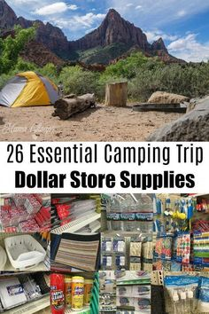 Before you head out into the great outdoors for your next camping adventure, check out this shopping list of Camping Trip Dollar Store Supplies! The dollar store has MANY practical and useful items that you will want to have at your campsite. Zelt Camping, Camping Bedarf, Family Camping, Outdoor Camping, Camping Stuff, Camping Chairs, Camping Hammock, Camping Trailers, Walmart Camping